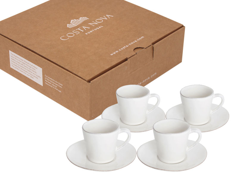 Filiżanki Ze Spodeczkami Do Kawy Espresso Nova 4 Szt Białe