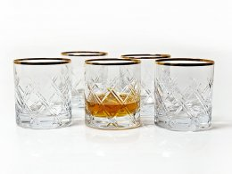 Szklanki do whisky Romb gold rim